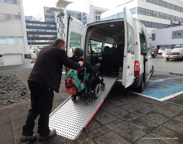 A typical accessible taxi in Reykjavik. wheelchair accessible things to do in reykjavik iceland