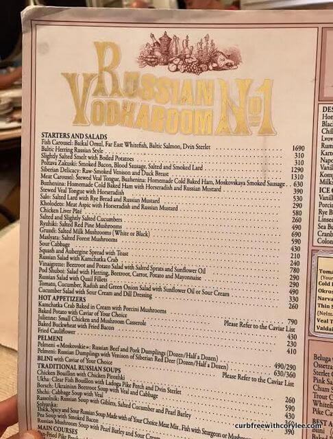 Russian VodkaRoom No. 1 menu