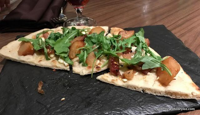 A yummy flatbread starter at dinner