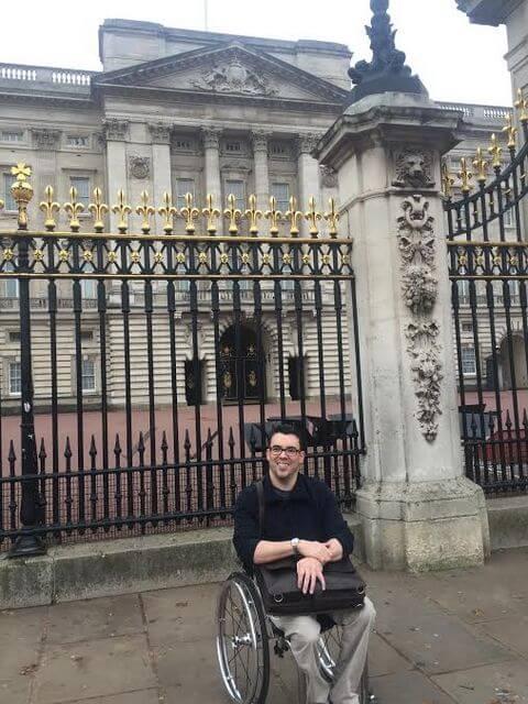 Brett in front of Buckingham Palace in London, England.