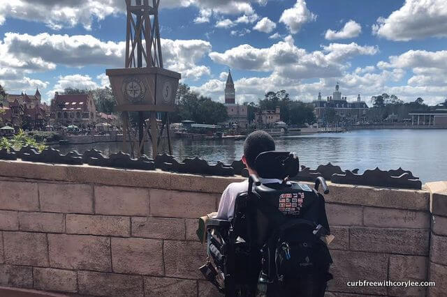 Disney World disability access, Looking out at Epcot's World Showcase, Wheelchair accessible disney world, disney world wheelchair rental, disney disability pass, disney access pass, disney world accessibility