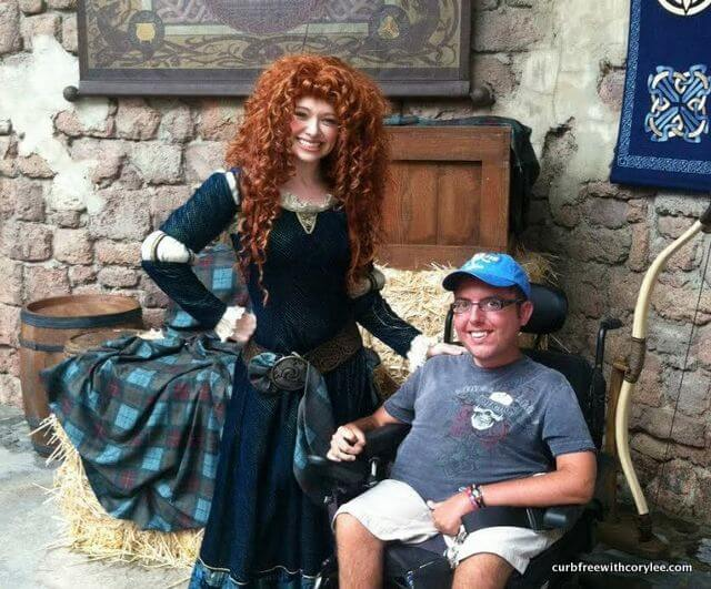 Disney World disability access, With Merida from the Disney movie Brave, Wheelchair accessible disney world, disney world wheelchair rental, disney disability pass, disney access pass, disney world accessibility