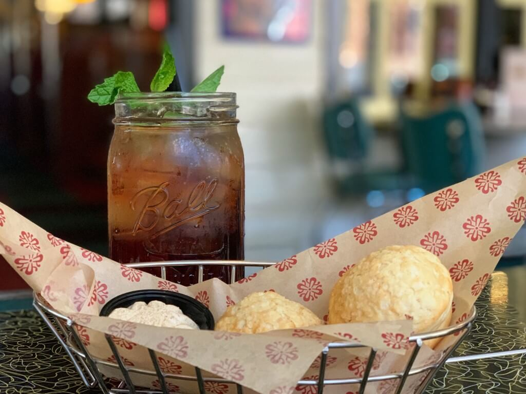 Lucille's sweet tea and biscuits