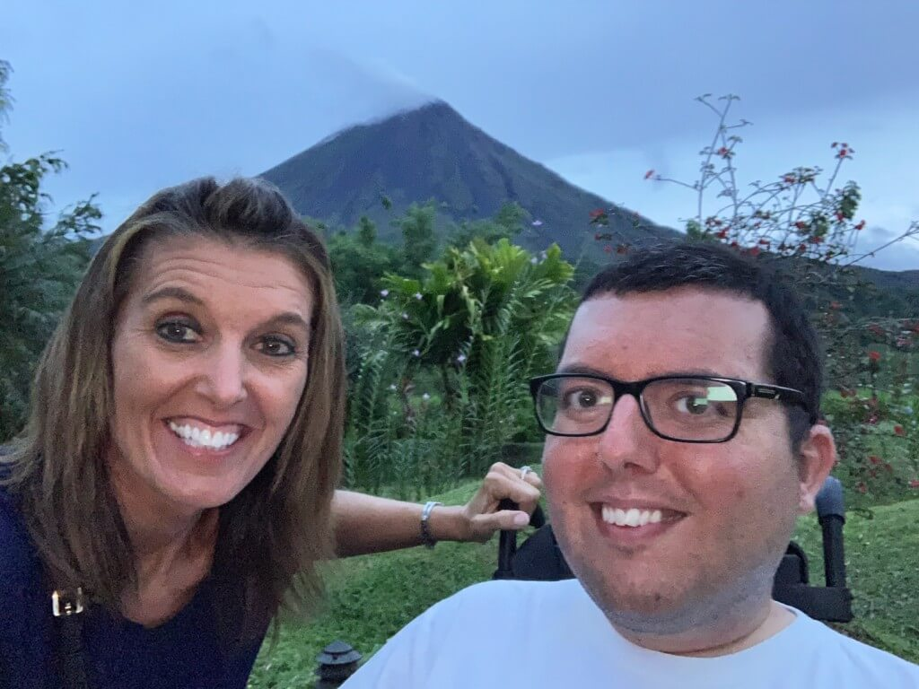 My mom and I in front of Arenal Volcano, things to do in La Fortuna Costa Rica