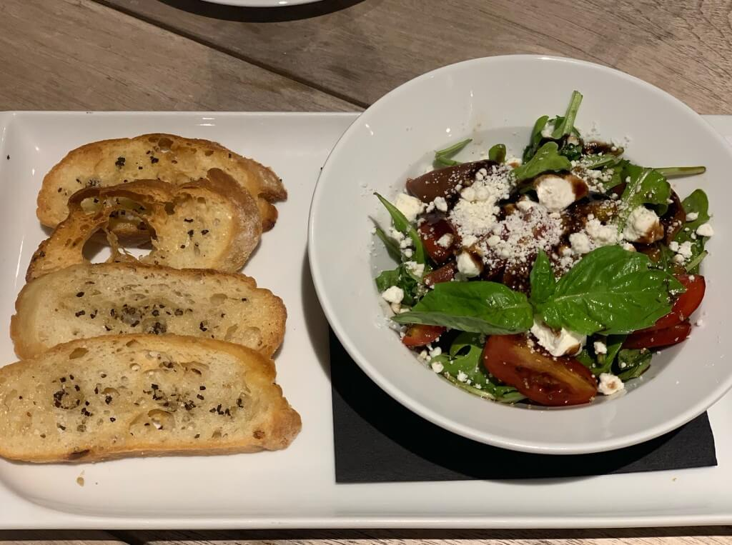 Bruschetta and salad at Euphoria